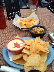 Appetizers: queso & pina salsa.