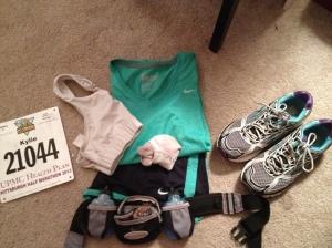 Clothes, shoes, bib, Gu, Gatorade, headphones.