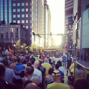 Corral B of the Pittsburgh Marathon!